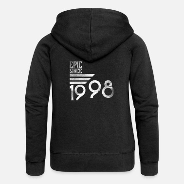Since 20th birthday gift vintage 1998 epic since - Women's Premium Zip Hoodie