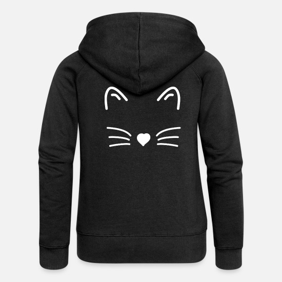 Mustache Hoodies & Sweatshirts - cat face - Women's Premium Zip Hoodie black
