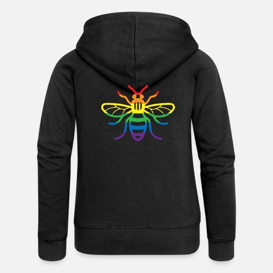 Gay Pride Hoodies & Sweatshirts - Gay Pride Bee - Women's Premium Zip Hoodie black