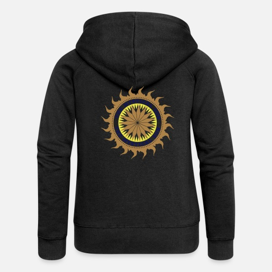 Symbol  Hoodies & Sweatshirts - Mystical Sun - Women's Premium Zip Hoodie black