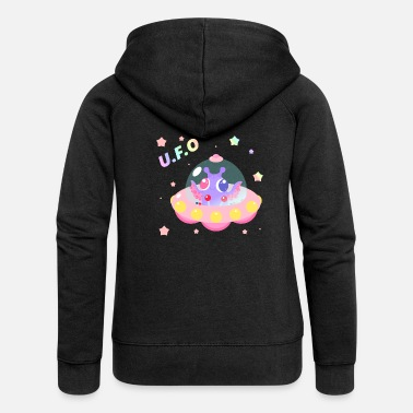 Ufo UFO Sweet alien in spaceship - Women's Premium Zip Hoodie