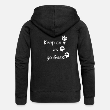 Gassi Keep calm and go gassi pfoten weiss - Frauen Premium Kapuzenjacke