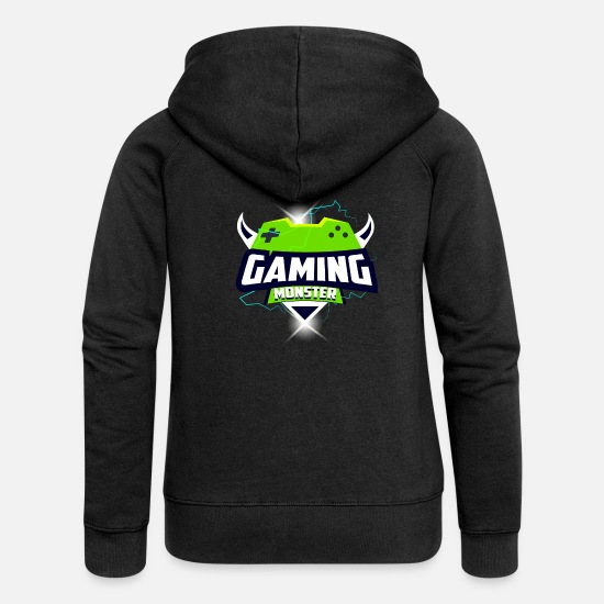 Love Hoodies & Sweatshirts - Zocker Gaming Monster - Women's Premium Zip Hoodie black