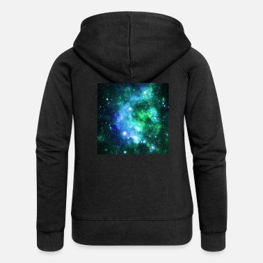 Navy Blue Green Space Stars - Women's Premium Zip Hoodie