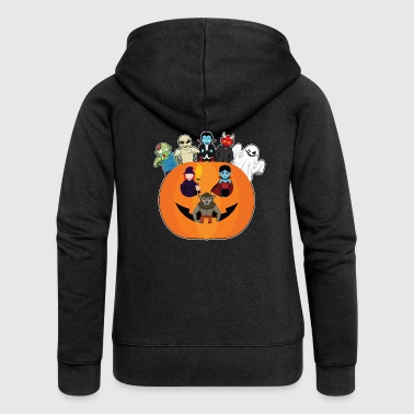 Halloween monster gather in pumpkin - Women's Premium Hooded Jacket