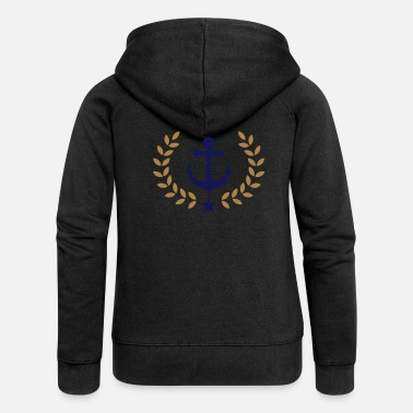 School Club Team Anchor, winner wreath, harbor, sailing, club, team - Women's Premium Zip Hoodie
