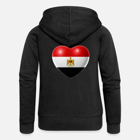 Love Hoodies & Sweatshirts - Heart (Egypt / Egypt) - Women's Premium Zip Hoodie black