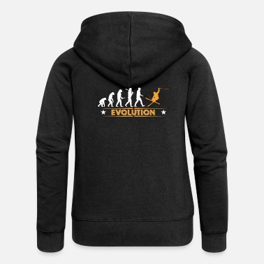 Darwin Skiing evolution - orange/white - Women's Premium Zip Hoodie