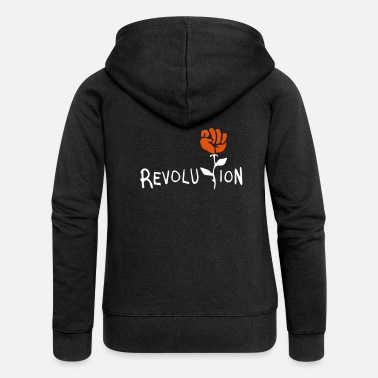 Revolution revolution fist rose - Women's Premium Zip Hoodie