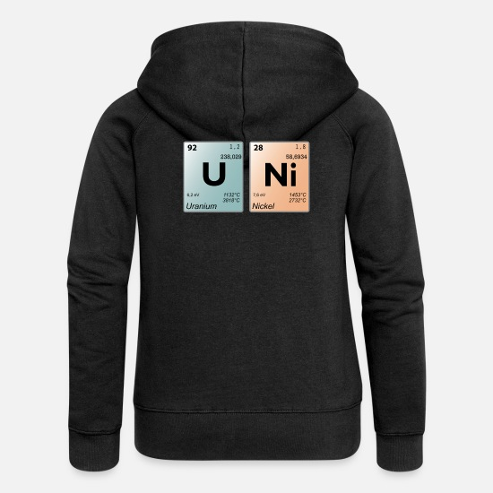 Periodic Hoodies & Sweatshirts - UNI periodic table - Women's Premium Zip Hoodie black