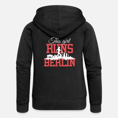 Berlin This girl runs Berlin Marathon Running Shirt white - Women's Premium Zip Hoodie
