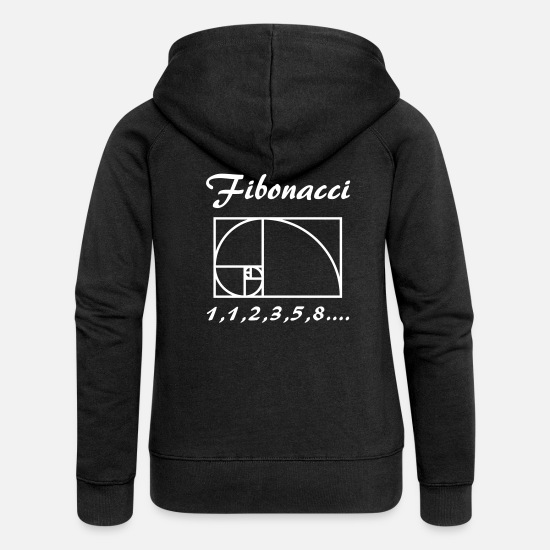 Art Hoodies & Sweatshirts - Fibunacci (vector) - Women's Premium Zip Hoodie black