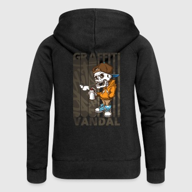 Graffiti Cool Funny Graffiti Vandal.Graffiti Art. Skeleton - Women's Premium Hooded Jacket