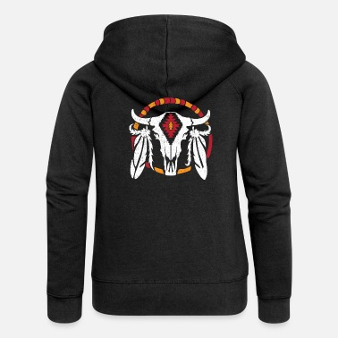 Mönster Aztec mönster Cow skull Cowboy Indian - Premium zip hoodie dam