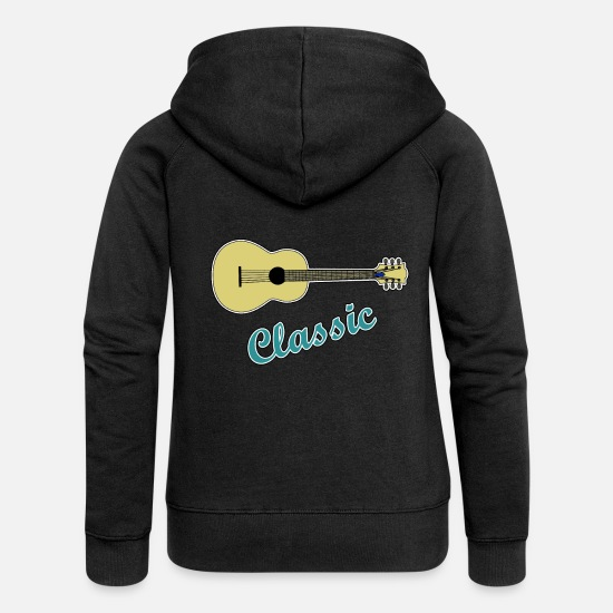 Love Hoodies & Sweatshirts - Guitar Classic - Guitar Guitarist Guitar Electric Guitar - Women's Premium Zip Hoodie black
