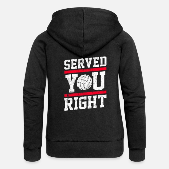Cool Sayings Hoodies & Sweatshirts - Volleyball Served saying - Women's Premium Zip Hoodie black