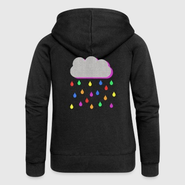 Rainbow Raindrops - Women's Premium Hooded Jacket