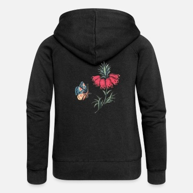 Flying butterfly with flowers - Women's Premium Zip Hoodie