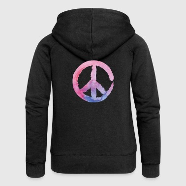 Peace Sign - Watercolor Pink Blue Yoga 70s - Women's Premium Hooded Jacket