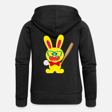 Bunny Tooth A tooth bunny and baseball - Women's Premium Zip Hoodie