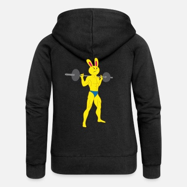 Bunny Tooth A tooth bunny bodybuilder with barbell - Women's Premium Zip Hoodie