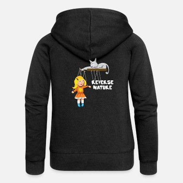 Slave Female Cat plays with a female slave as a puppet - Women's Premium Zip Hoodie