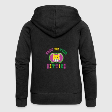 Show Me Your Kitties Mardi Gras Gift - Women's Premium Hooded Jacket