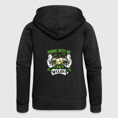 Funny Drink With Me Welder St Patrick's Day - Women's Premium Hooded Jacket