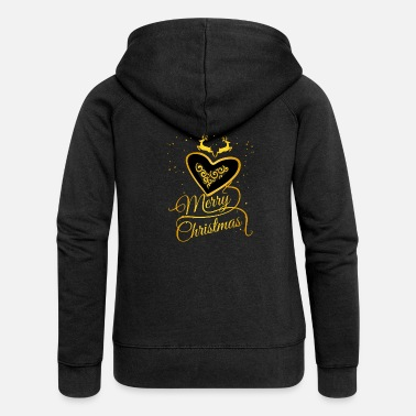 Glamour gold heart Glamour Christmas Xmas Moose star - Women's Premium Zip Hoodie