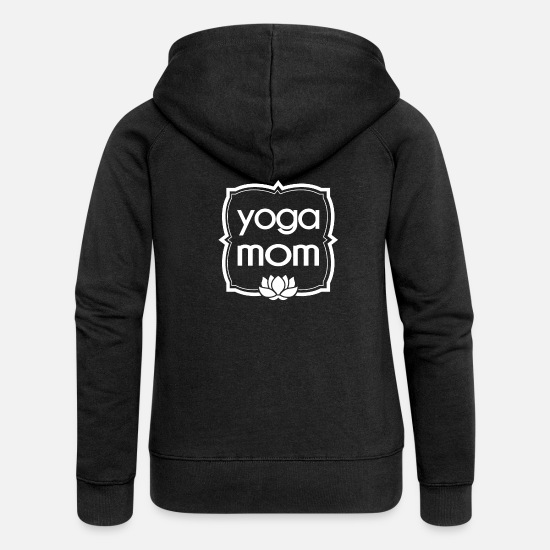 Lotus Blossom Hoodies & Sweatshirts - Yoga Mama shirt gift Namaste mother - Women's Premium Zip Hoodie black