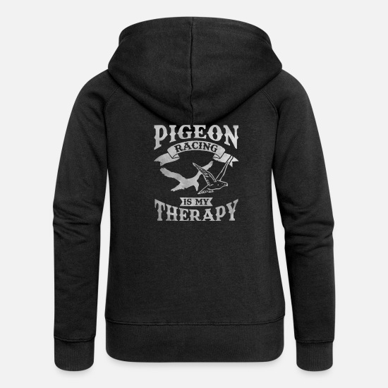 Pigeon Hoodies & Sweatshirts - Pigeon pigeon fancier pigeons race therapy birds - Women's Premium Zip Hoodie black