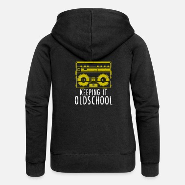 School Old School Boombox - Ghettoblaster Music Hip Hop - Women's Premium Zip Hoodie