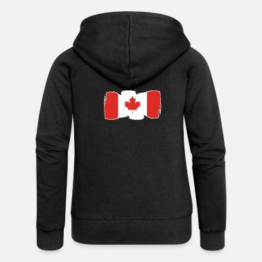 Leaf Vintage Retro Flag Canada Red White - Women's Premium Zip Hoodie
