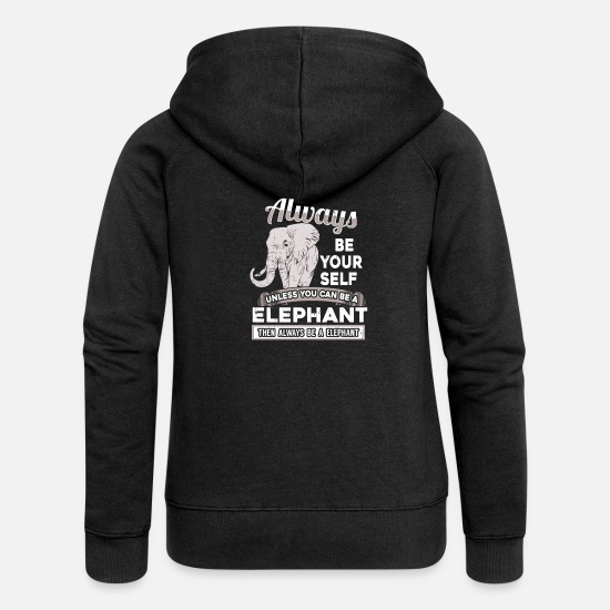 Elephant Hoodies & Sweatshirts - elephant - Women's Premium Zip Hoodie black
