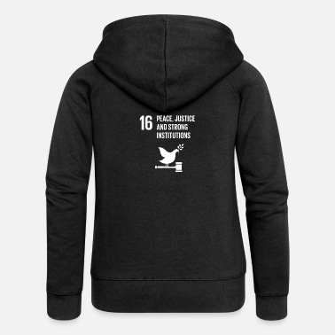 Global 16 Peace Justice Strong Institutions Global Goals - Women's Premium Zip Hoodie