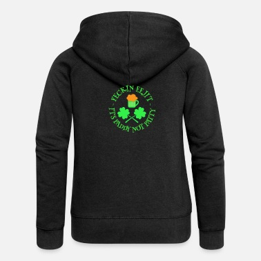 Eejit St Patrick's Day Feckin Eejit Beer and Shamrocks - Women's Premium Zip Hoodie