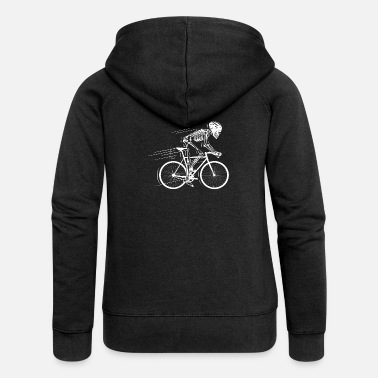 Bike Skeleton Bone Bike Bike Gift - Premium bluza rozpinana damska z kapturem