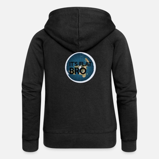 Earth Day Sweaters & hoodies - Het is Flat Bro - The Earth is Flat Map - Vrouwen zip hoodie zwart