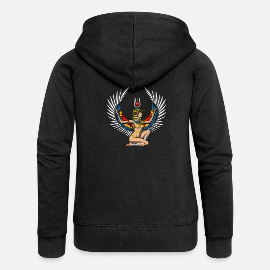Ancient Mythology Egypt Hoodies & Sweatshirts - Egyptian Goddess Isis Ancient Queen Mythology - Women's Premium Zip Hoodie black