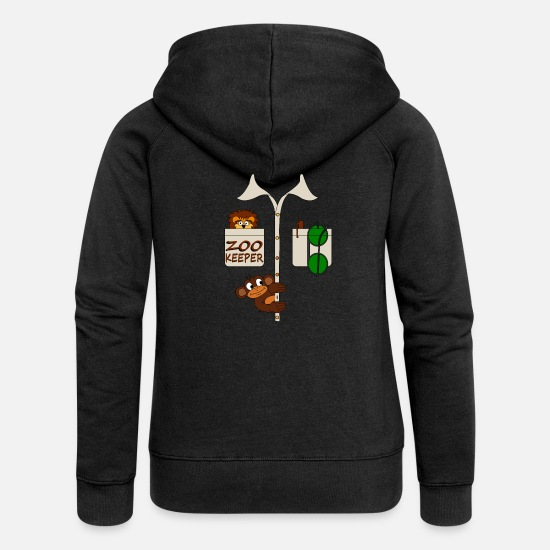 Birthday Hoodies & Sweatshirts - Zoo watchman shirt monkey lion smock gift - Women's Premium Zip Hoodie black