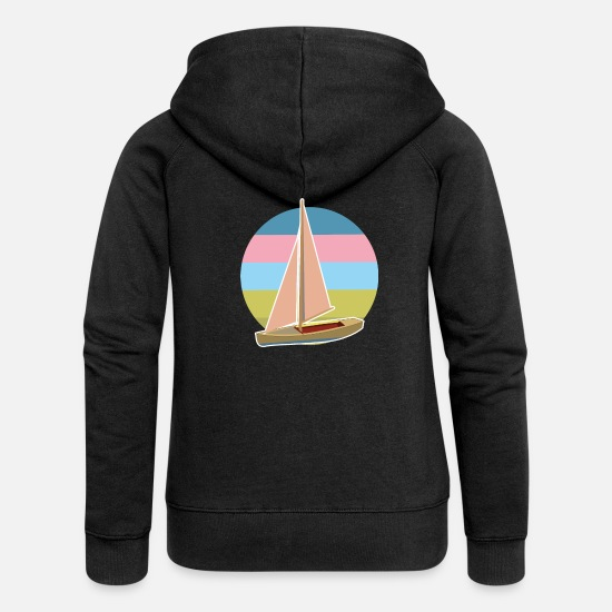 Dinghy Hoodies & Sweatshirts - Dinghy circle 5 colors boat ship sailboat - Women's Premium Zip Hoodie black