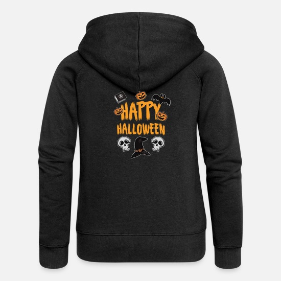Bat Hoodies & Sweatshirts - Happy Halloween - Women's Premium Zip Hoodie black