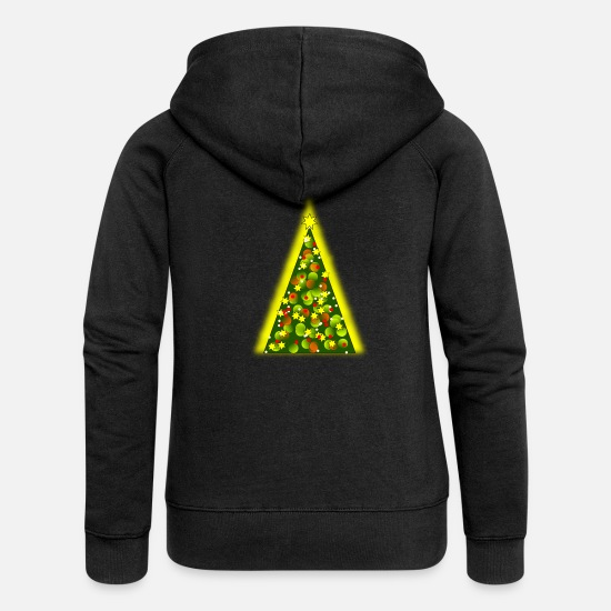 Starry Sky Hoodies & Sweatshirts - Decorated Christmas tree with bright sparkle - Women's Premium Zip Hoodie black