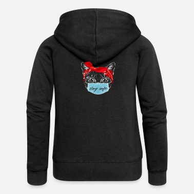 Cat Keep Your Distance Keep distance ! Cat cat with face mask - Women's Premium Zip Hoodie