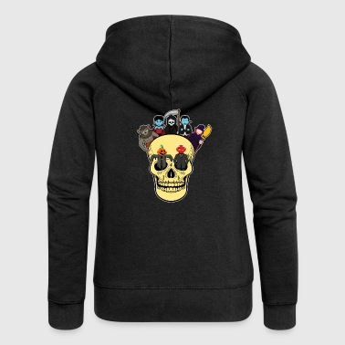 Halloween monster gathering in the skull - Women's Premium Hooded Jacket