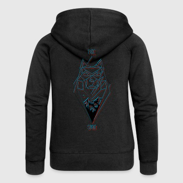 Free Spirit Wolf Design (black) - Women's Premium Hooded Jacket
