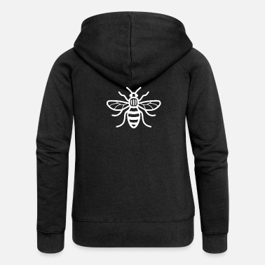 Bee Manchester Bee (White) - Women's Premium Hooded Jacket