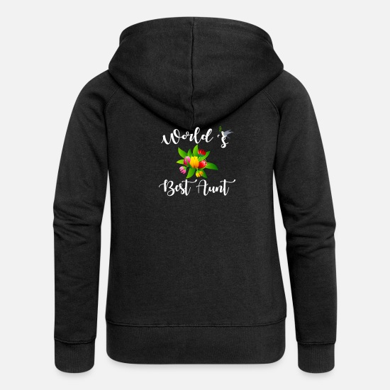 Aunt Art Hoodies & Sweatshirts - Aunt - World's best Aunt - Women's Premium Zip Hoodie black