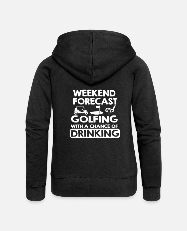 Christmas Hoodies & Sweatshirts - Weekend forecast golfing - Women's Premium Zip Hoodie black