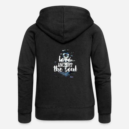 Sailboat Hoodies & Sweatshirts - Water furs anchor saying - Women's Premium Zip Hoodie black